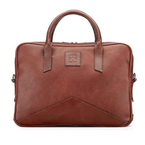 Tusting Langford Leather Brief Bag in Chestnut
