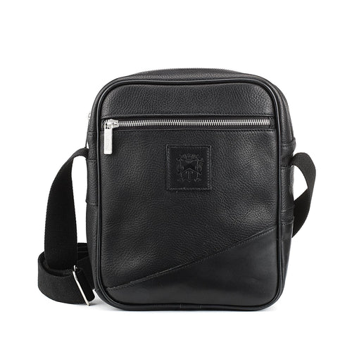 Tusting Nimrod Leather Crossbody Bag in Black-Travel Bags-Sterling-and-Burke