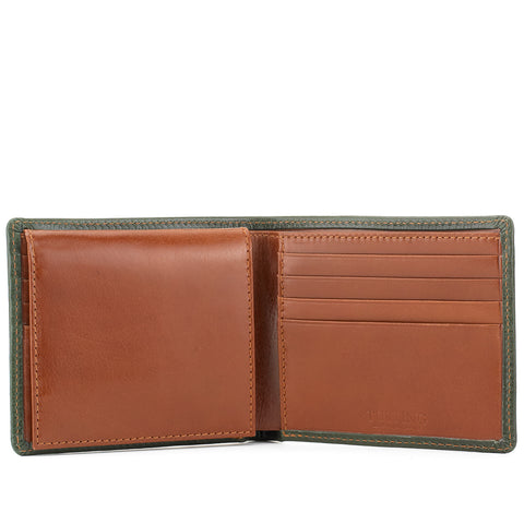 Tusting Leather Hip Wallet with Flap in Green and Tan