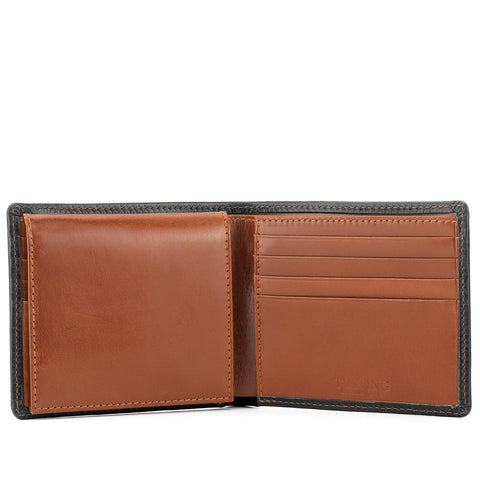 Tusting Leather Hip Wallet with Flap in Navy and Tan