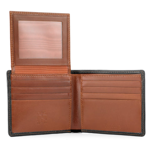 Tusting Leather Hip Wallet with Flap in Navy and Tan-Leather Accessories-Sterling-and-Burke