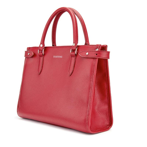 Tusting Kimbolton Large Leather Handbag in Grain Red-Handbag-Sterling-and-Burke