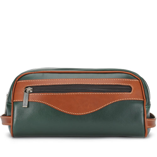 Tusting Excursion Toiletry Bag in Green and Tan Leather-Leather Accessories-Sterling-and-Burke