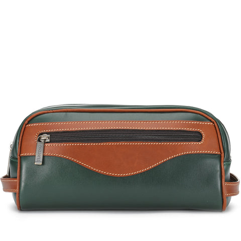 Tusting Excursion Toiletry Bag in Green and Tan Leather