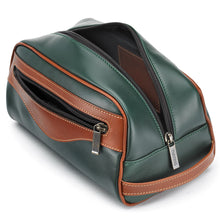Load image into Gallery viewer, Tusting Excursion Toiletry Bag in Green and Tan Leather-Leather Accessories-Sterling-and-Burke