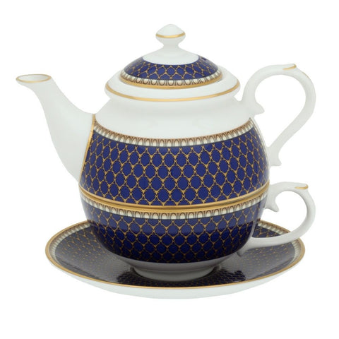 English Fine Bone China | Tea for One | Antler Trellis | Midnight | Halcyon Days | Made in England