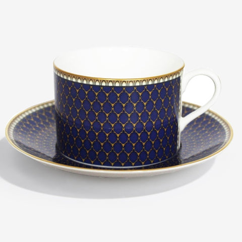 Fine English Bone China | Teacup and Saucer | Antler Trellis | Midnight | Halcyon Days | Made in England