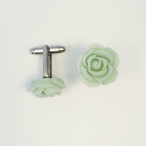 Flower Cufflinks | Mint Green Floral Cuff Links | Matte Finish Cufflinks | Hand Made in USA