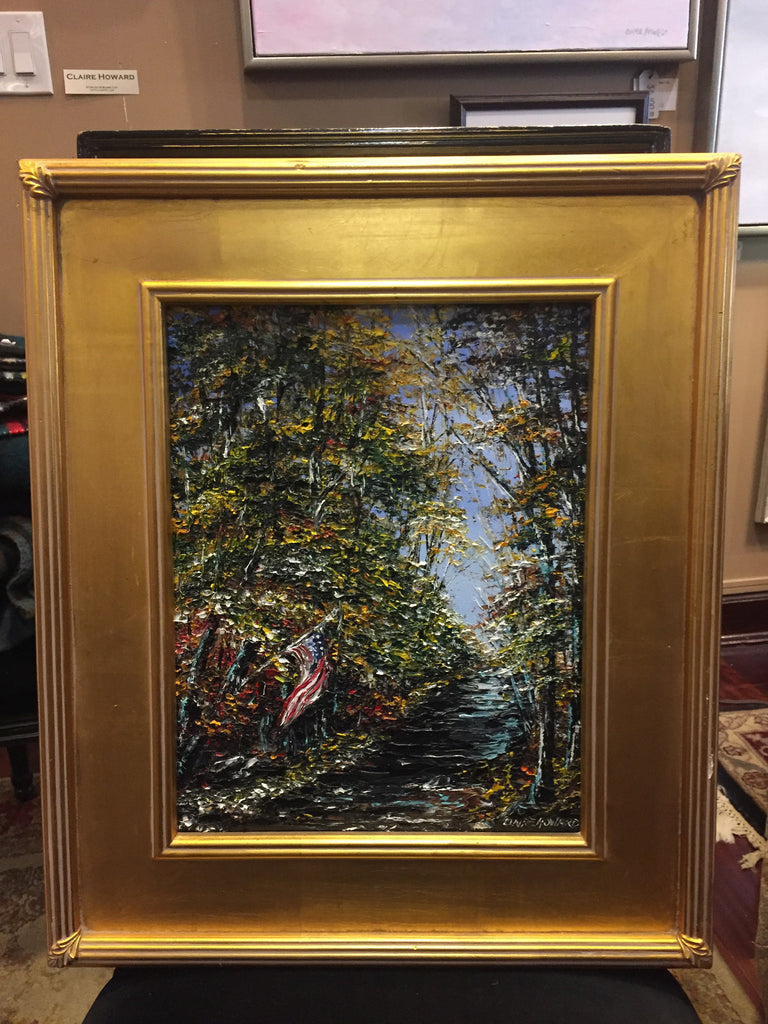 "Art | The Fishing Creek | Original Oil Painting by Claire Howard | 14"" x 11""-Oil Painting-Sterling-and-Burke"
