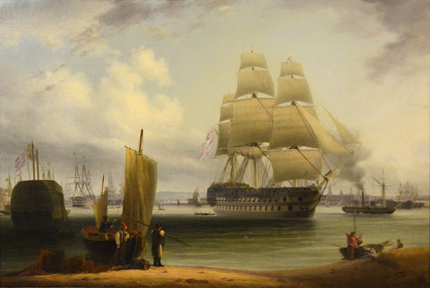 Antique Oil Painting | HMS York , Prince, Victory, Queen Charlotte and Spartiate at Portsmouth by Robert Strickland Thomas | 23 by 32 Inches