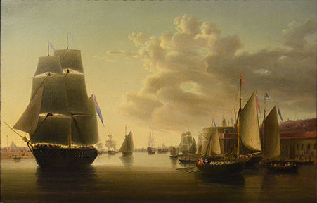 Antique Oil Painting | HMS Prince and Victory at Portsmouth by Robert Strickland Thomas | 23.5 x 32.5 Inches