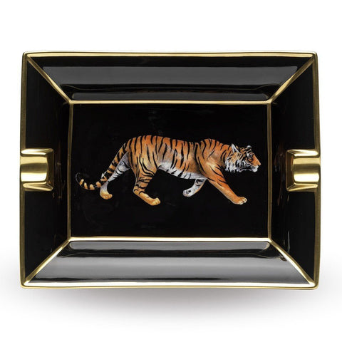 Halcyon Days Tiger Ashtray in Black and Gold-Ash Tray-Sterling-and-Burke