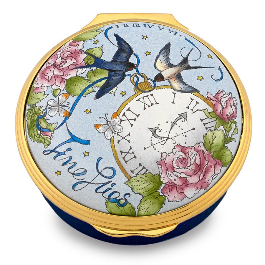 Enamel Box | Time Flies Enamel Box | Halcyon Days | Made in England-Enamel Box-Sterling-and-Burke