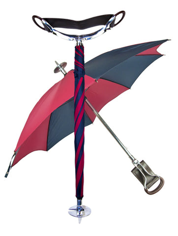 Seat Stick Umbrella | Seat Stick / Walking Stick Umbrella | Fixed Height Field Stick with Umbrella | Made in England | Sterling and Burke