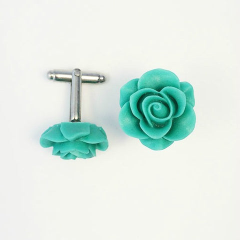 Flower Cufflinks | Turquoise Floral Cuff Links | Matte Finish Cufflinks | Hand Made in USA-Cufflinks-Sterling-and-Burke