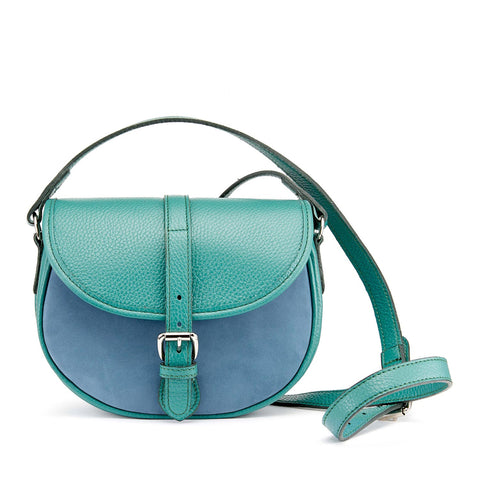 Tusting Cardington Medium Leather Handbag in Jade and French Navy