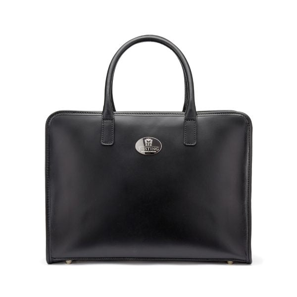 Tusting Catherine Large Leather Handbag in Black-Handbag-Sterling-and-Burke