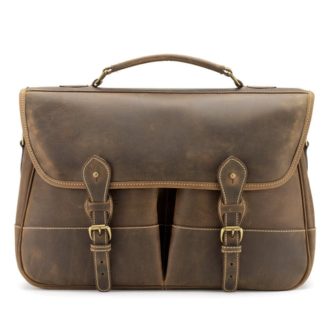 Tusting Clipper Large Leather Laptop Briefcase