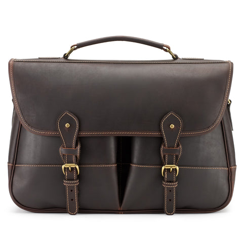 Tusting Clipper Large Leather Laptop Briefcase in Sundance