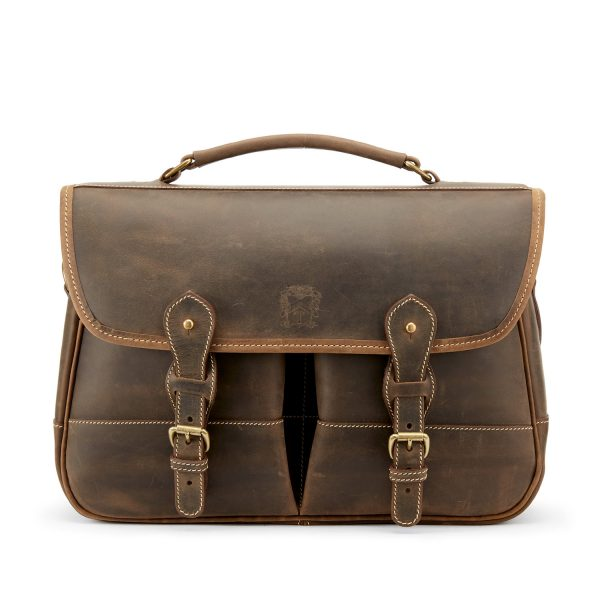 Tusting Clipper Small Leather Laptop Briefcase in Aztec-Business Bags-Sterling-and-Burke