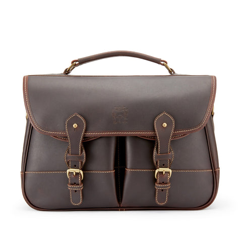 Tusting Clipper Small Leather Laptop Briefcase in Sundance