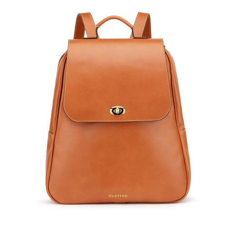 Tusting Eliza Large Leather Backpack / Handbag in Tan