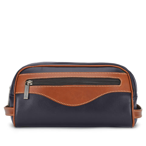Tusting Excursion Toiletry Bag in Navy and Tan Leather