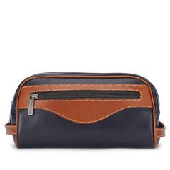 Tusting Excursion Toiletry Bag in Navy and Tan Leather-Leather Accessories-Sterling-and-Burke
