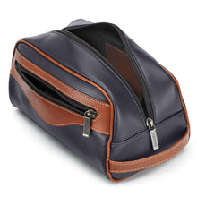Load image into Gallery viewer, Tusting Excursion Toiletry Bag in Navy and Tan Leather-Leather Accessories-Sterling-and-Burke