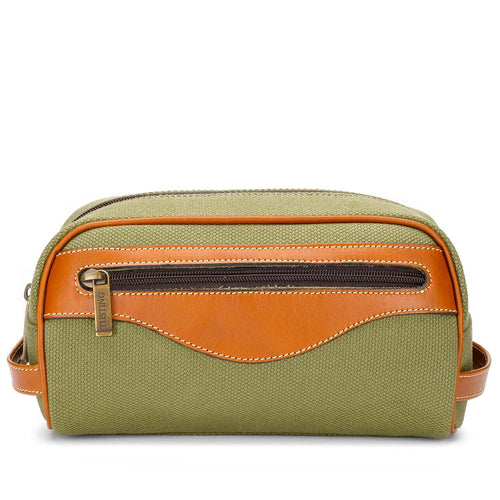 Tusting Excursion Toiletry Bag in Olive Canvas-Leather Accessories-Sterling-and-Burke