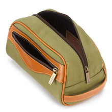 Load image into Gallery viewer, Tusting Excursion Toiletry Bag in Olive Canvas-Leather Accessories-Sterling-and-Burke