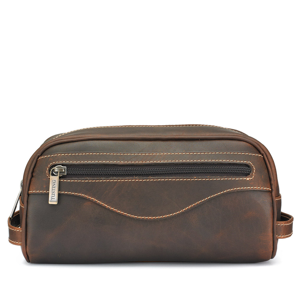 Tusting Excursion Toiletry Bag in Sundance Leather-Leather Accessories-Sterling-and-Burke