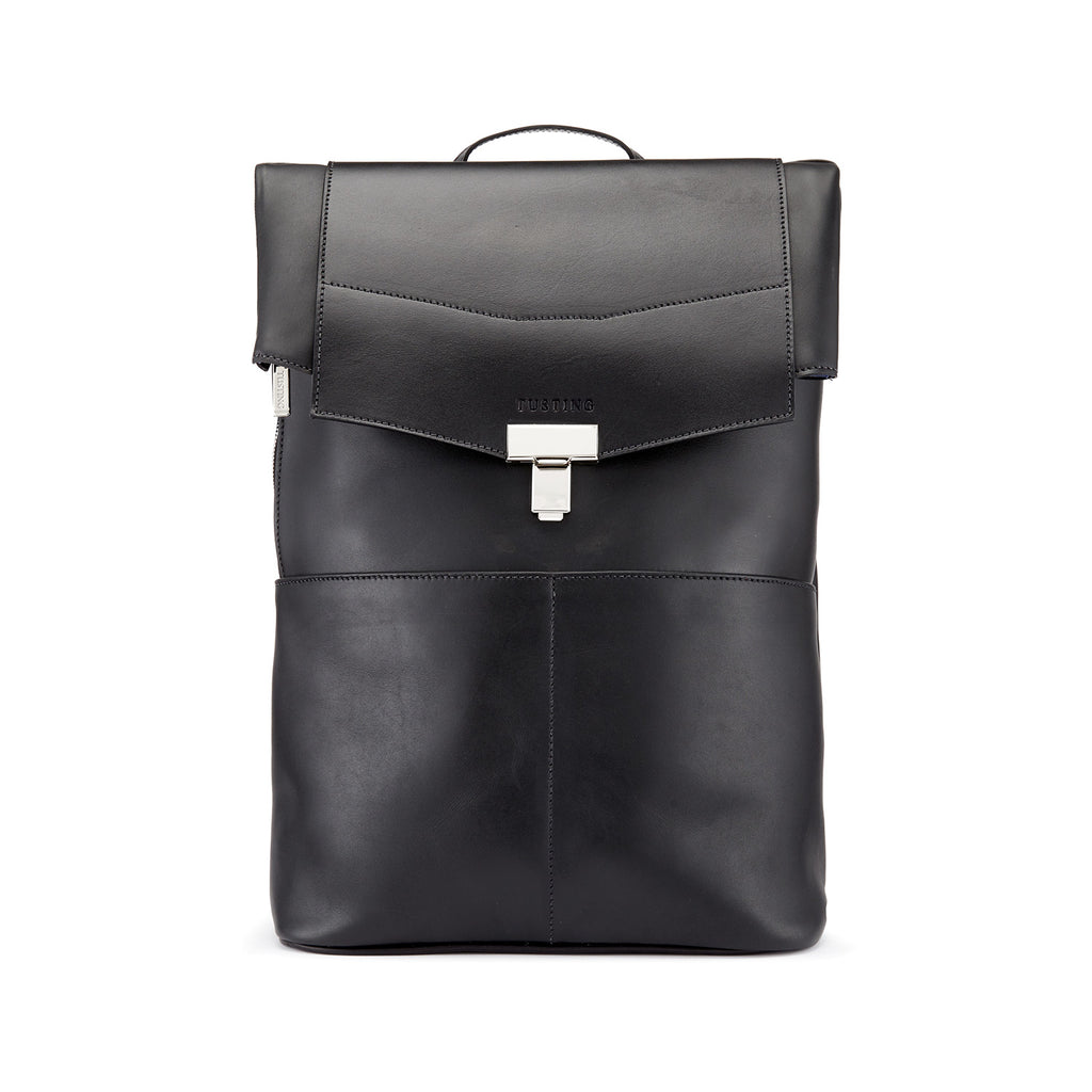 Tusting Gainsborough Leather Backpack in Black-Business Bags-Sterling-and-Burke