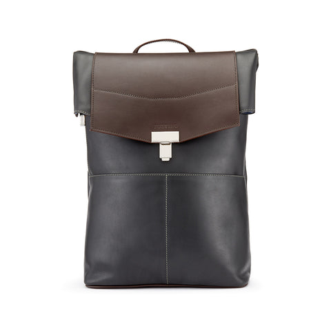 Tusting Gainsborough Leather Backpack in Pewter and Chocolate