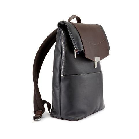 Tusting Gainsborough Leather Backpack in Pewter and Chocolate-Business Bags-Sterling-and-Burke