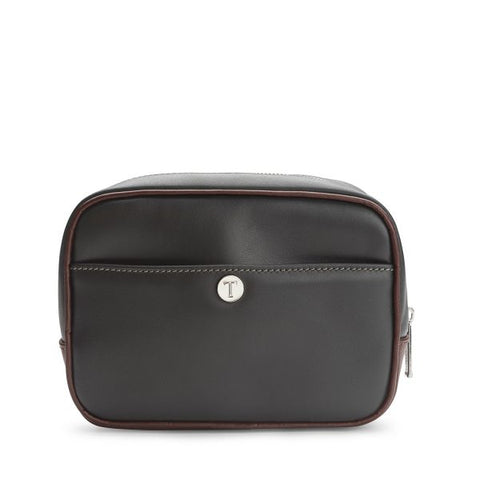 Tusting Harrogate Toiletry Bag in Pewter and Chocolate