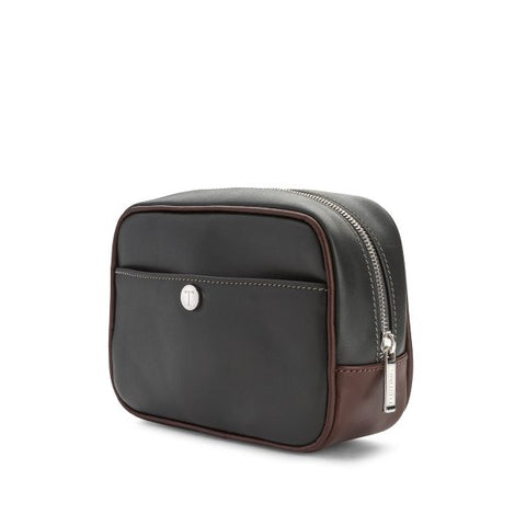 Tusting Harrogate Toiletry Bag in Pewter and Chocolate-Leather Accessories-Sterling-and-Burke