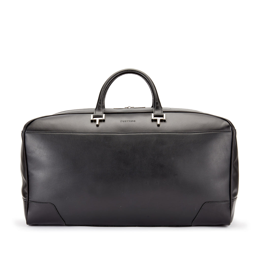Tusting Hingham Leather Duffle Bag in Black-Travel Bags-Sterling-and-Burke