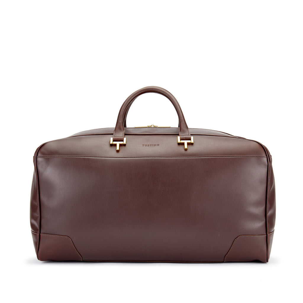 Tusting Hingham Leather Duffle Bag in Chocolate-Travel Bags-Sterling-and-Burke
