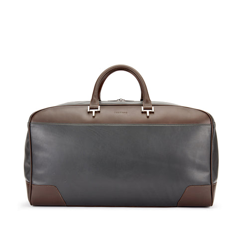 Tusting Hingham Leather Duffle Bag in Pewter and Chocolate-Travel Bags-Sterling-and-Burke