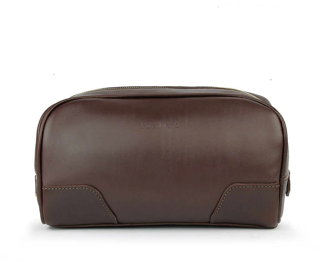Tusting Hove Toiletry Bag in Chocolate-Leather Accessories-Sterling-and-Burke