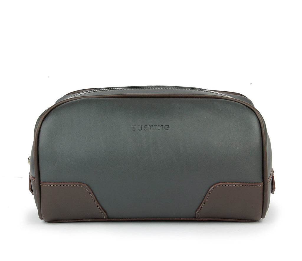 Tusting Hove Toiletry Bag in Pewter and Chocolate-Leather Accessories-Sterling-and-Burke