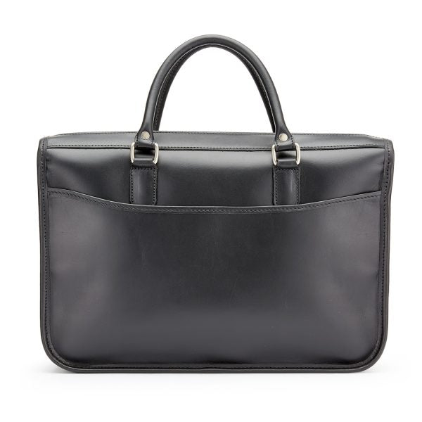 Tusting Marston Small Leather Briefcase in Black-Business Bags-Sterling-and-Burke
