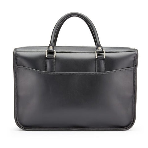 Tusting Marston Small Leather Briefcase in Black