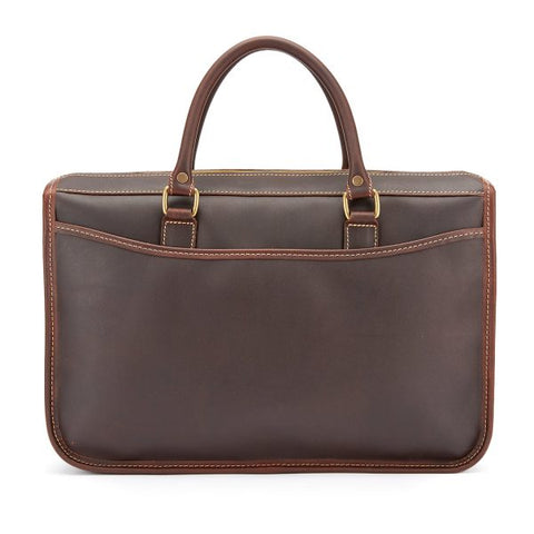 Tusting Marston Small Leather Briefcase in Sundance