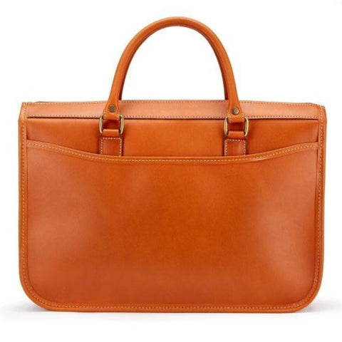 Tusting Marston Large Leather Briefcase in Tan-Business Bags-Sterling-and-Burke