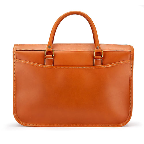 Tusting Marston Small Leather Briefcase in Tan-Business Bags-Sterling-and-Burke