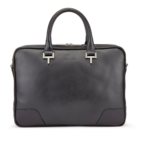 Tusting Mortimer Leather Brief Bag in Black