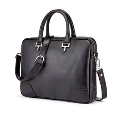 Tusting Mortimer Leather Brief Bag in Black-Business Bags-Sterling-and-Burke