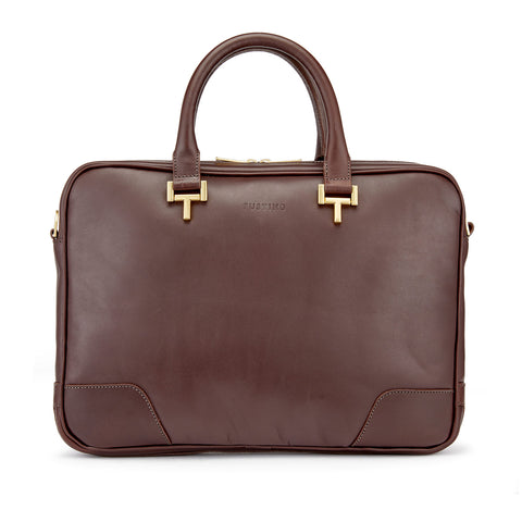 Tusting Mortimer Leather Brief Bag in Chocolate